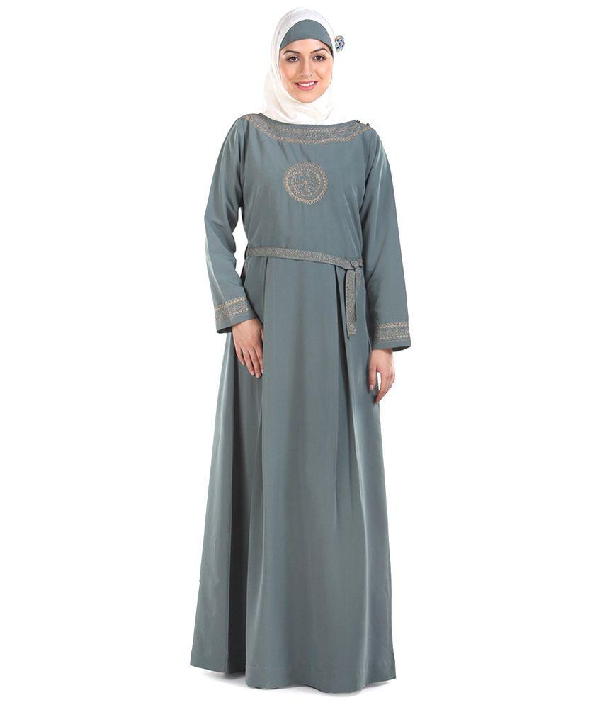 Momin Libas Grey Ploycrepe Stitched Abaya-Burqas without Hijab