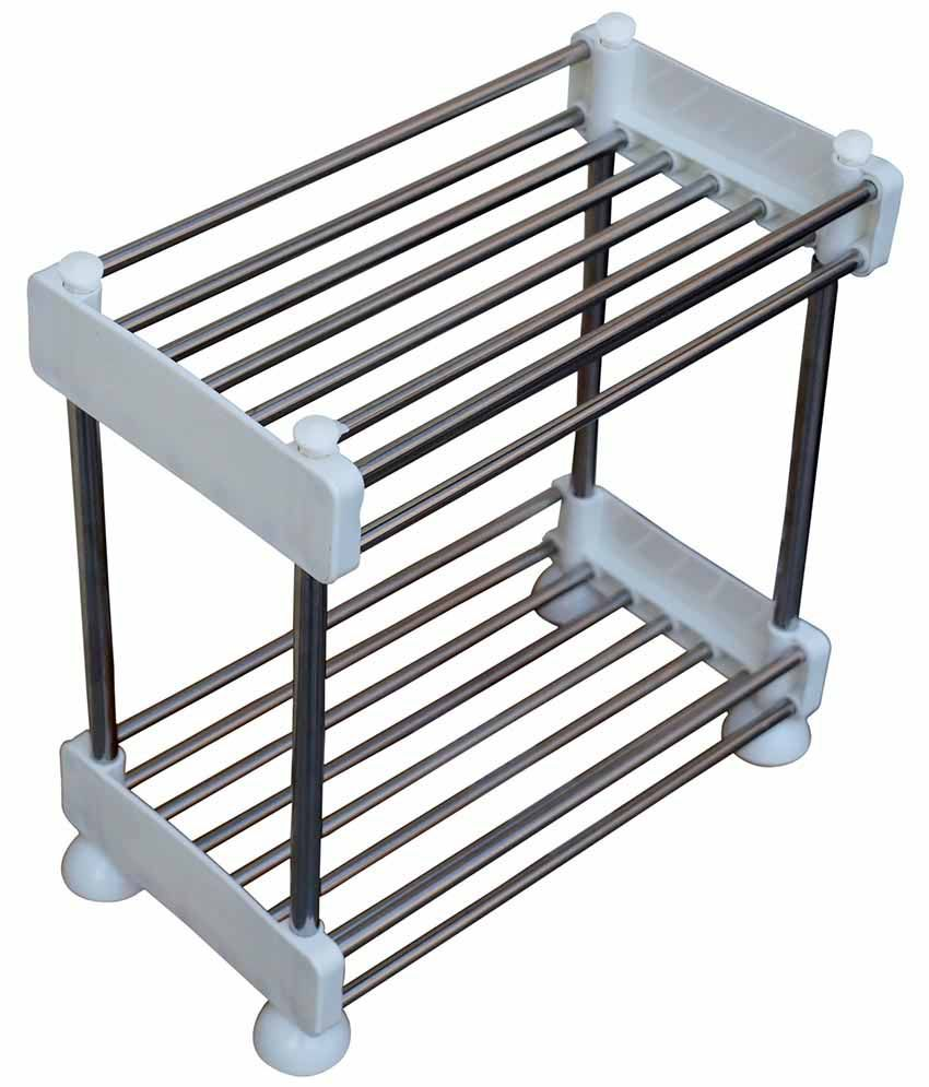Pindia Stainless Steel 2 Layer Kitchen Rack   Silver