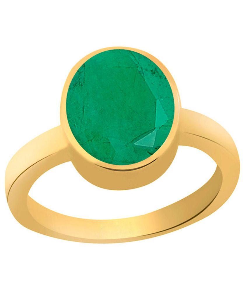 Clara Emerald Panna 7.5 carat (8.25 ratti) Panchdhatu Gold Plating Astrological Ring For Men & Women