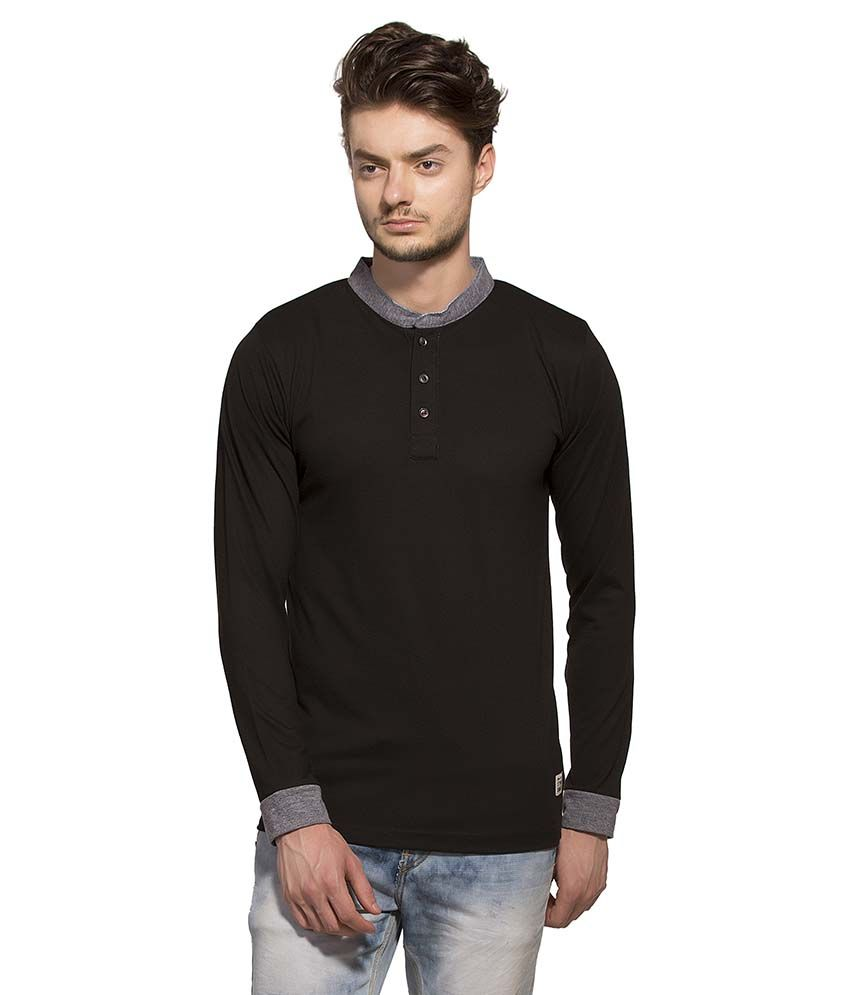 Alan Jones Clothing Black Henley T Shirt