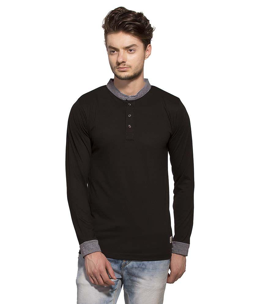 Alan Jones Clothing Black Henley T Shirt