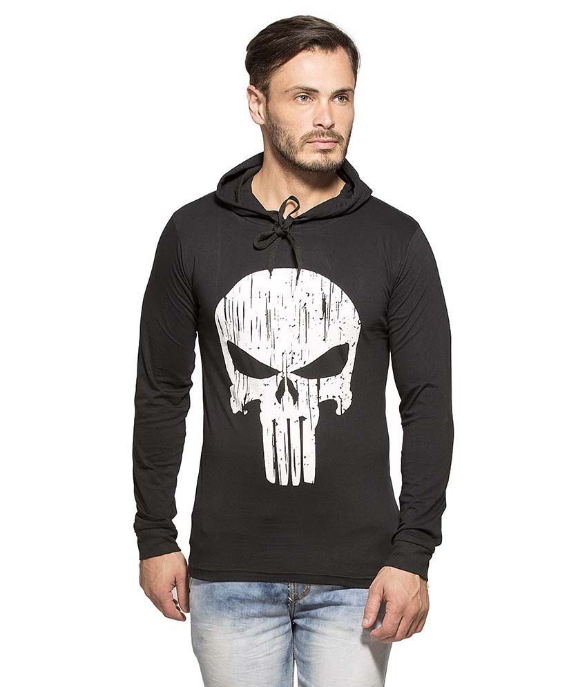 Alan Jones Clothing Black Hooded T Shirt