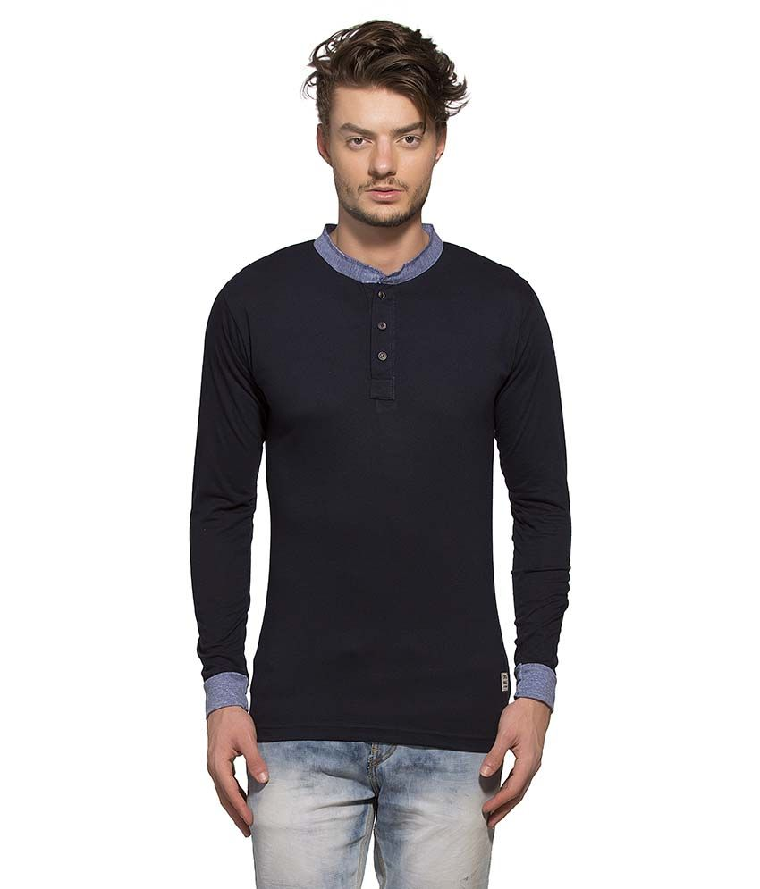 Alan Jones Clothing Navy Henley T Shirt