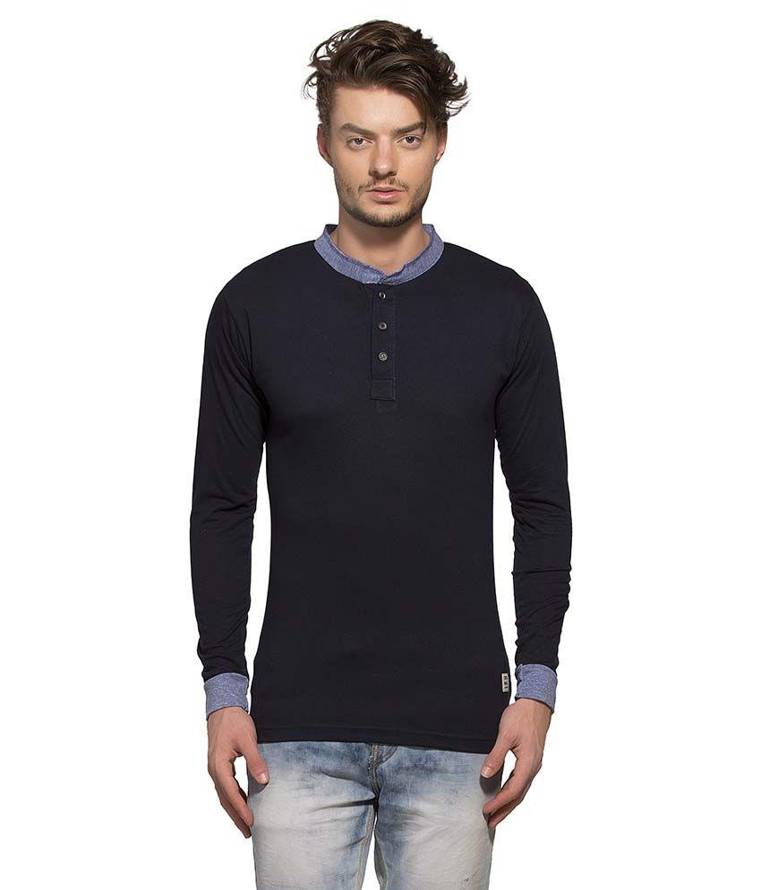 Alan Jones Clothing Navy Henley T Shirt