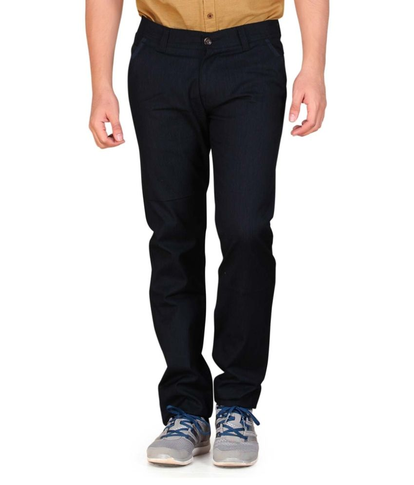 Private Image Blue Slim Fit Pleated Trousers Casuals