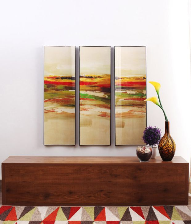 Artista Multicolour Abstract Painting with Wooden Frame