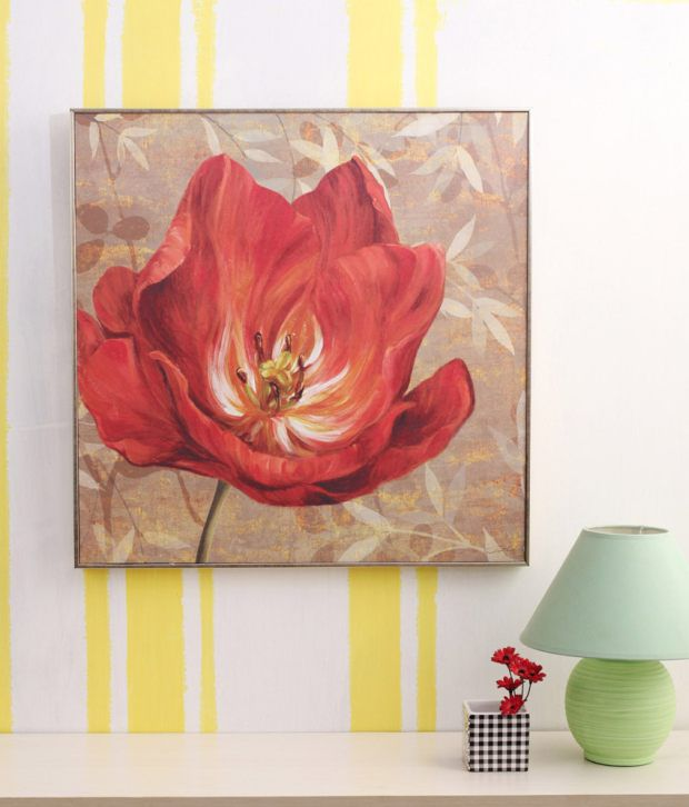 Artista Multicolour Floral Painting with Metal Frame