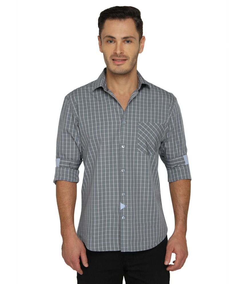 Bluvior Grey Casuals Slim Fit Shirt