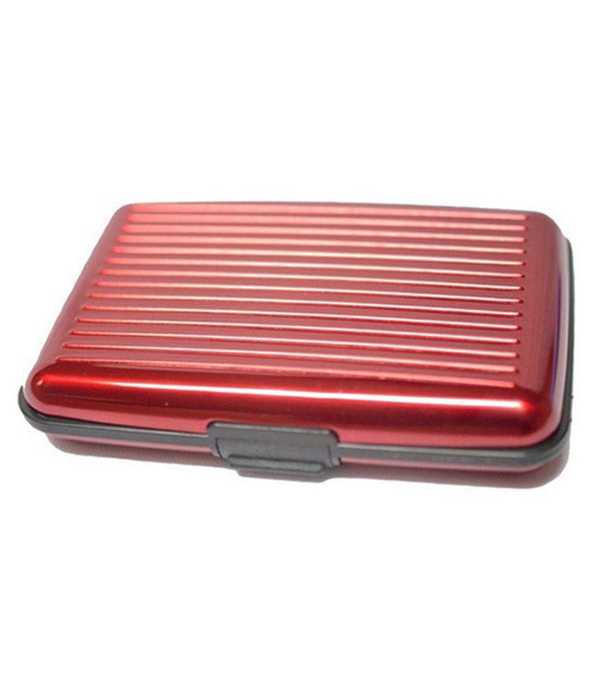 Edgemark Red Aluminium Card Holder for Men - Set of 2