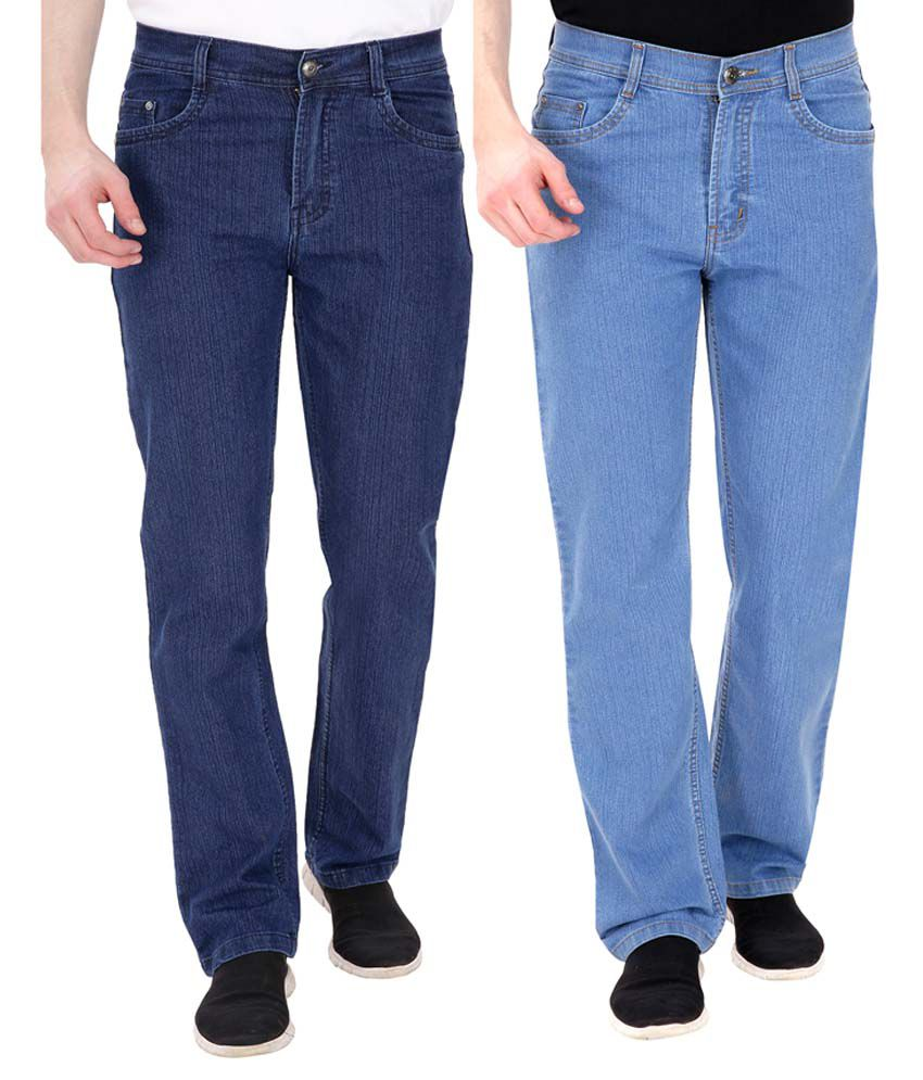 Fizzaro Blue Regular Fit Solid Jeans Pack of 2