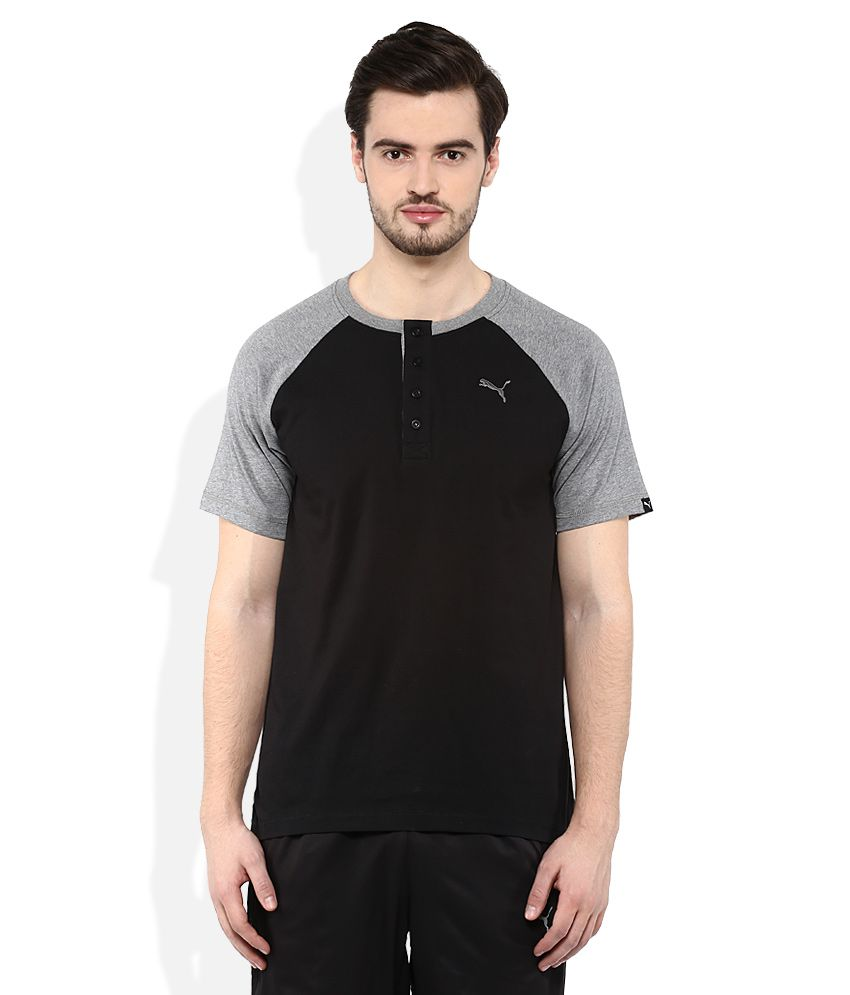 Puma Black Round neck T Shirt