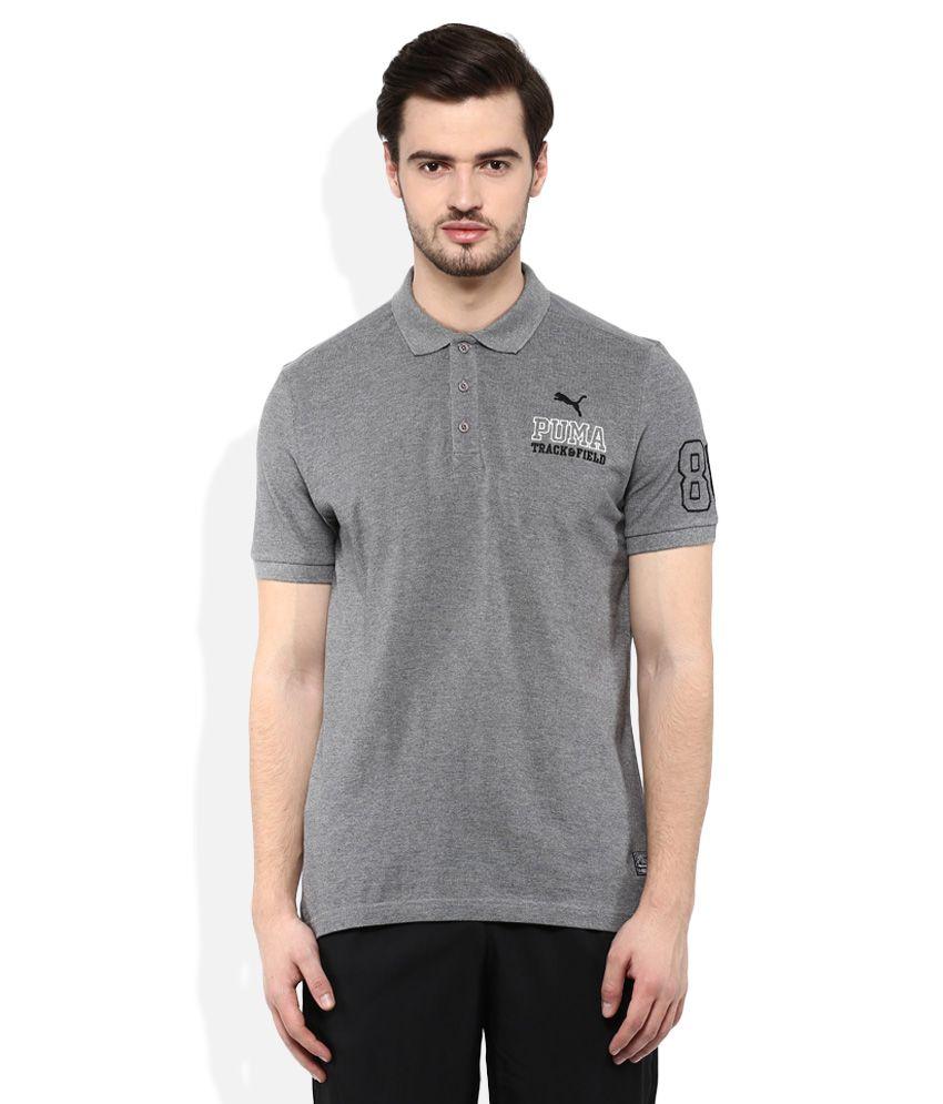 Puma Gray Polo Neck T Shirt