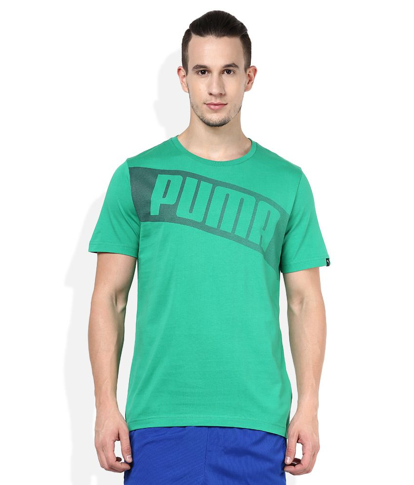 Puma Green Round neck T Shirt
