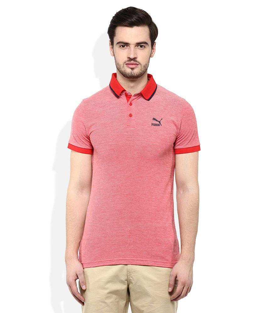 Puma Red Polo Neck T Shirt