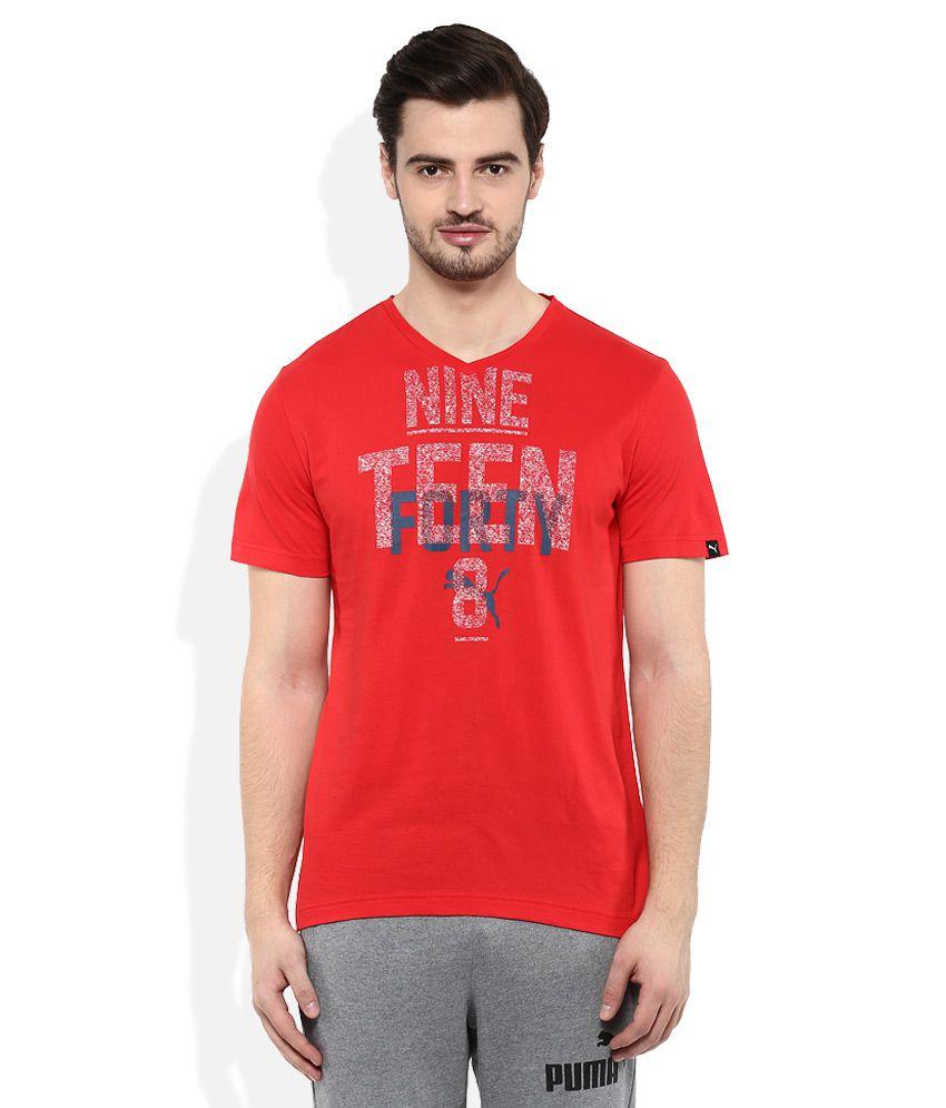 Puma Red V-Neck T Shirt