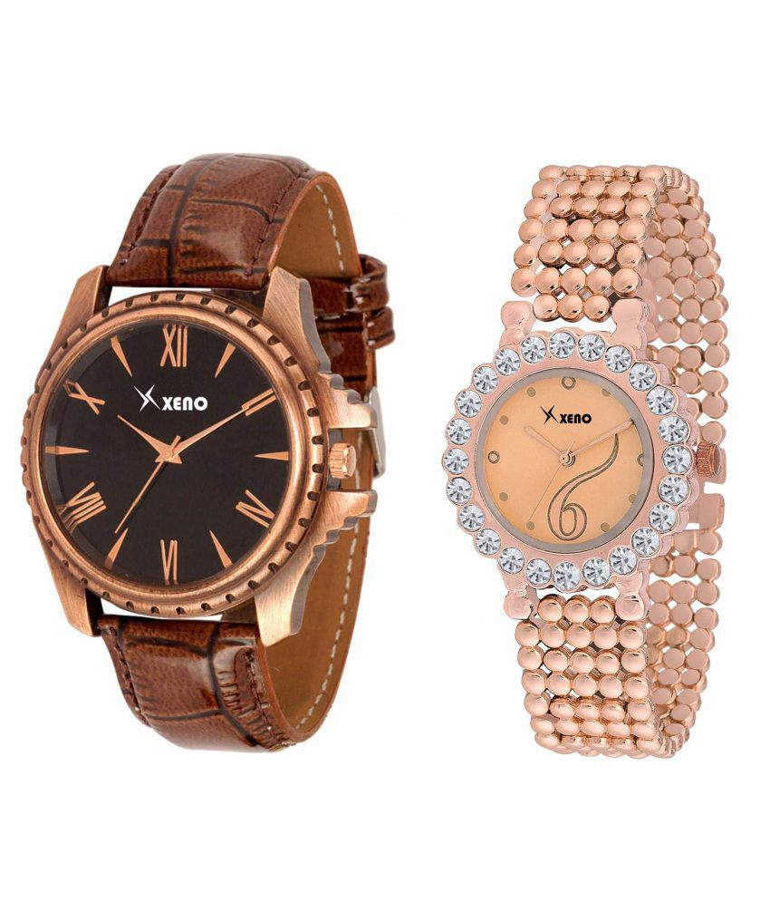 xeno Brown Leather and Golden Metal Analog Couple Watch