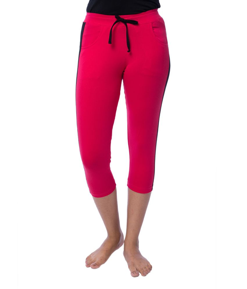 Nite Flite Athletic Pink Cotton Lycra Capris with Black Panel