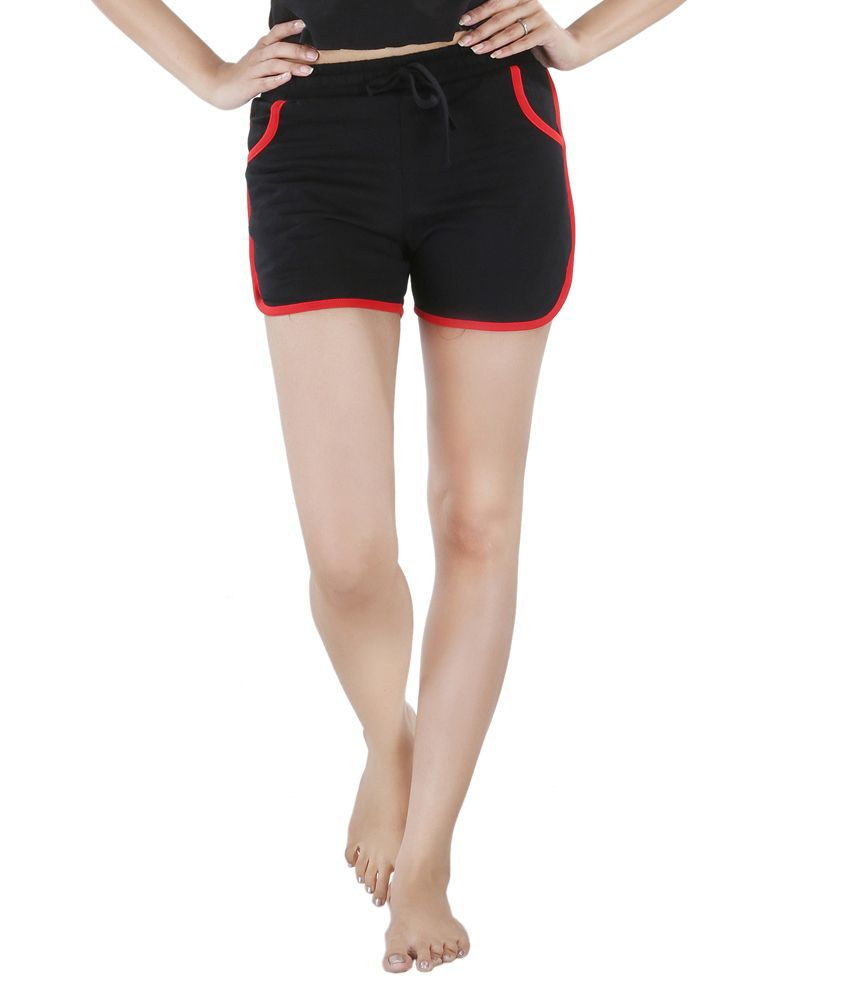 Nite Flite Black Cotton Hot Shorts with Red Piping
