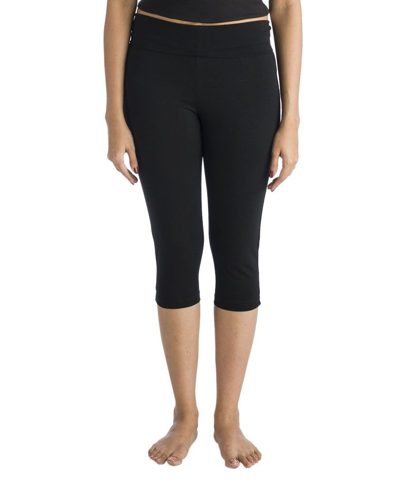 Nite Flite Black Yoga Capri with Foldover Waistband