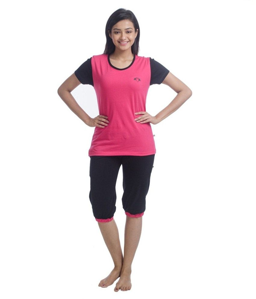 Nite Flite Colour Block Cotton Capri Set