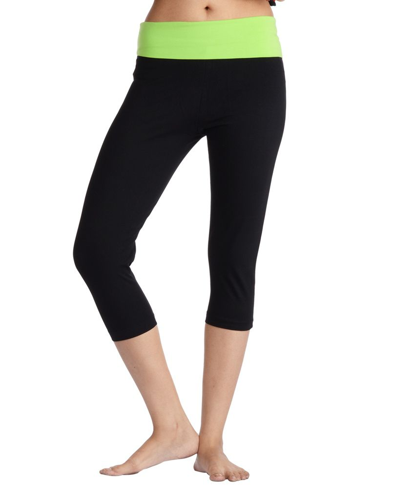 Nite Flite Yoga Capri with Green Foldover Waistband