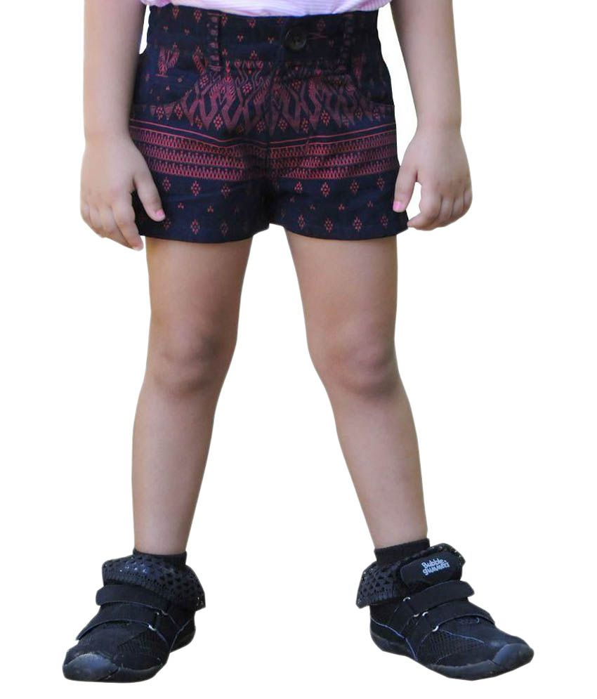 Snowflakes Black Corduroy Shorts
