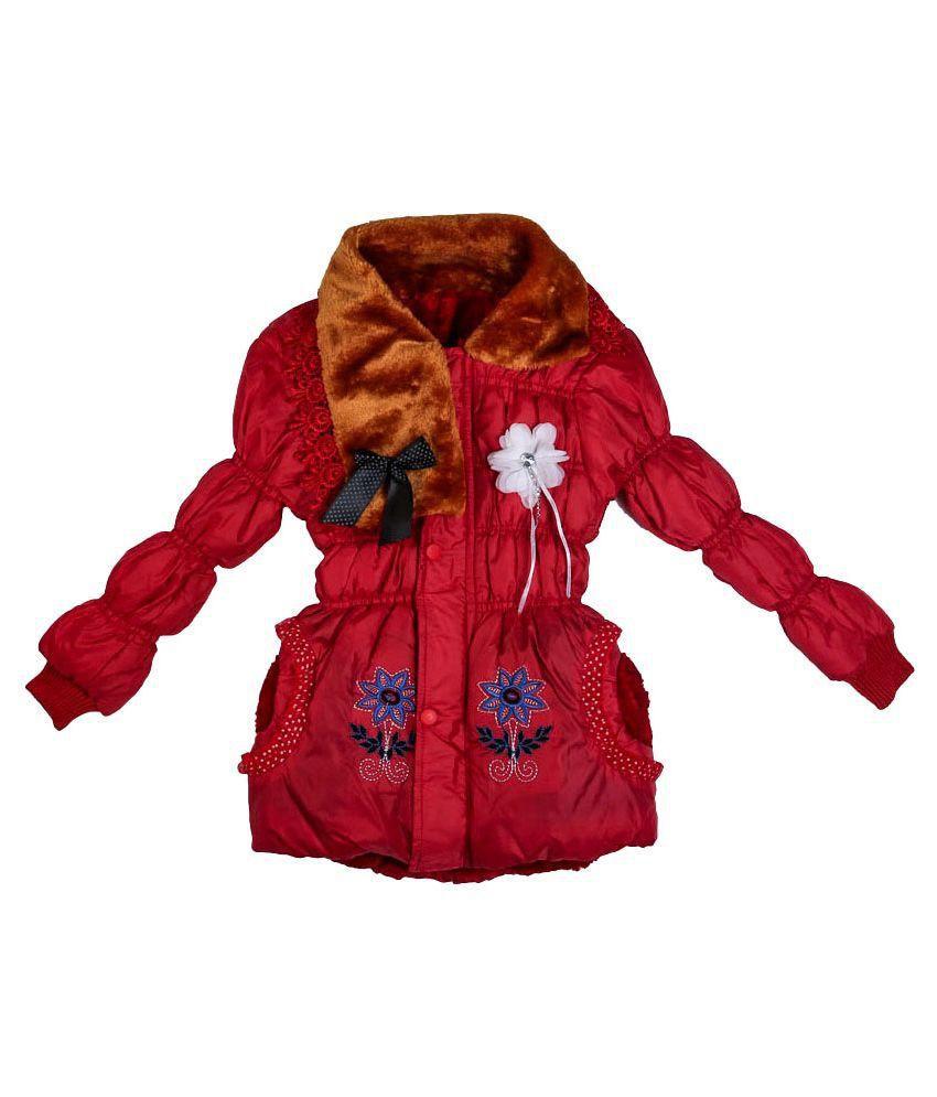 13thirteen Red Viscose Jacket for girls