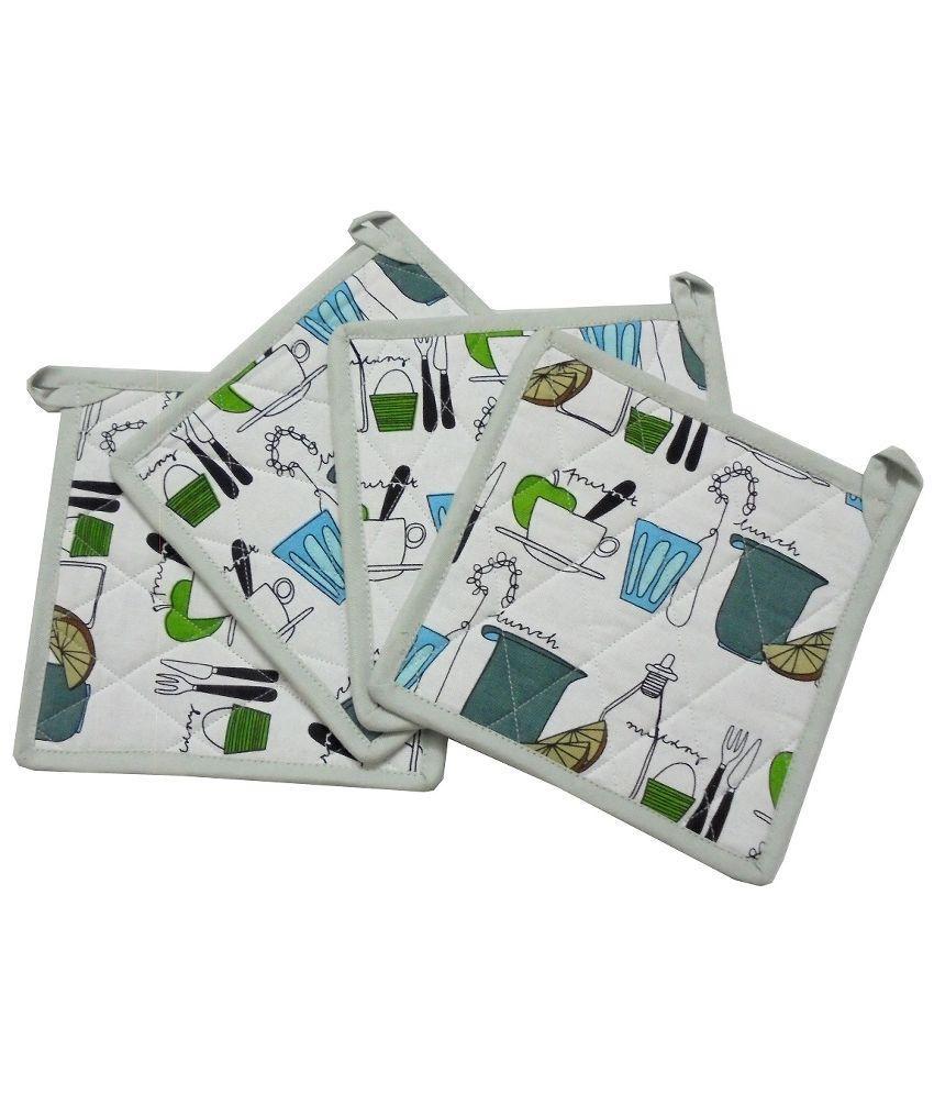 Tidy Multicolour Cotton Pot Holder - Pack of 4Pcs