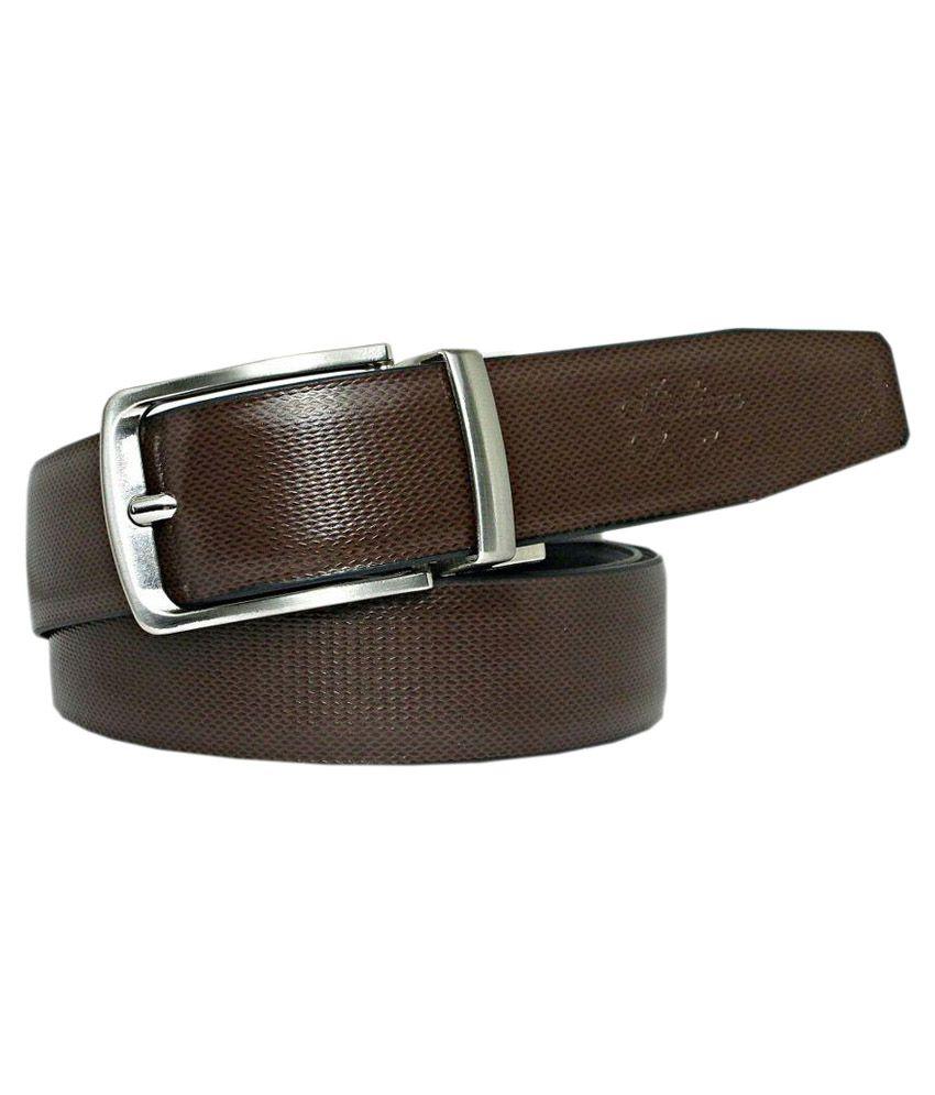 Abhinavs Black Leather Reversible Formal Belt for Men