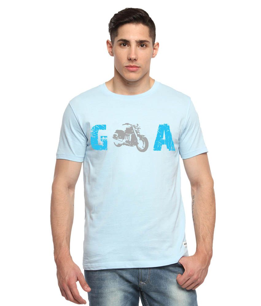 Adro Blue Cotton T - Shirt