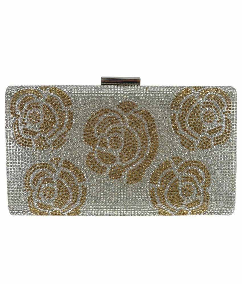 Comfty Silver Fabric Box Clutch