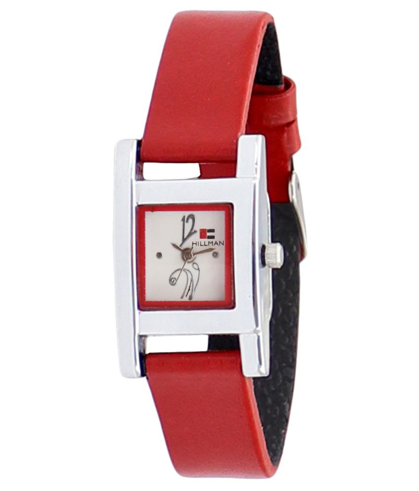 Hillman Red Leather Wrist Watch For Women