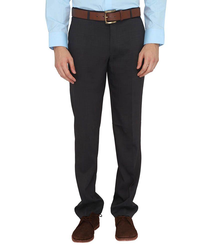 Jadeblue Grey Regular Fit Flat Trousers