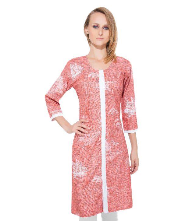 Resha Pink Cotton Straight Kurti