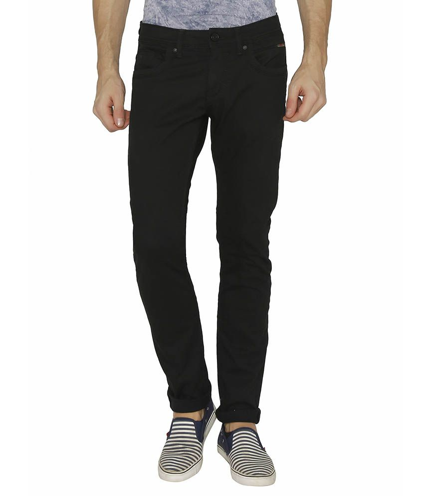 Rookies Black Slim Fit Faded Jeans