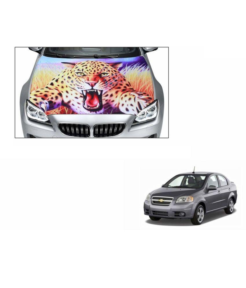 Speedwav car hood bonnet vinyl decal jumping leopard dark mahindra bolero type 4