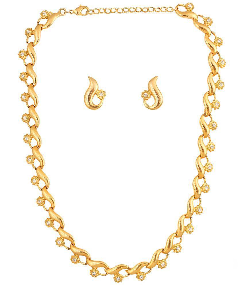 Touchstone Golden Alloy Necklace Set