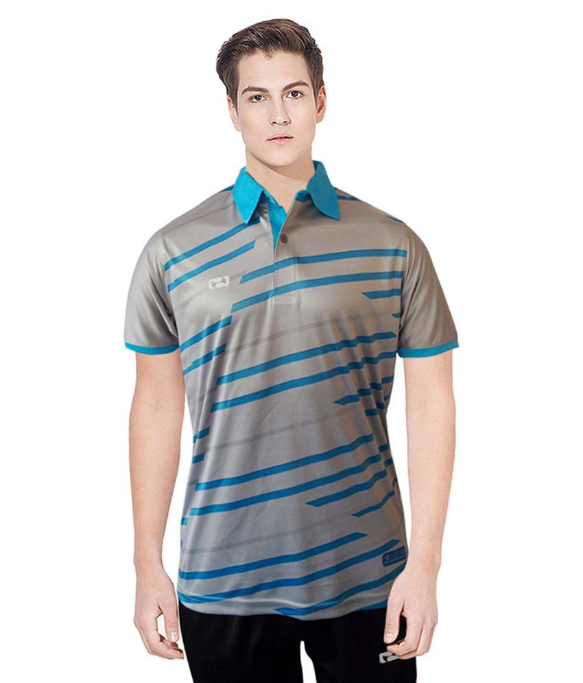 NBS Grey And Blue Polyester Sports Jersey For Men