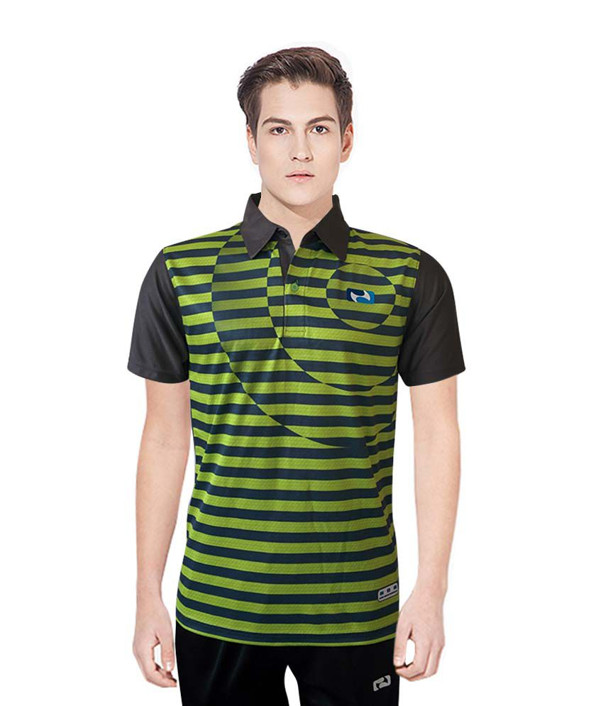 NBS Grey And Green Polyester Sports Jersey For Men
