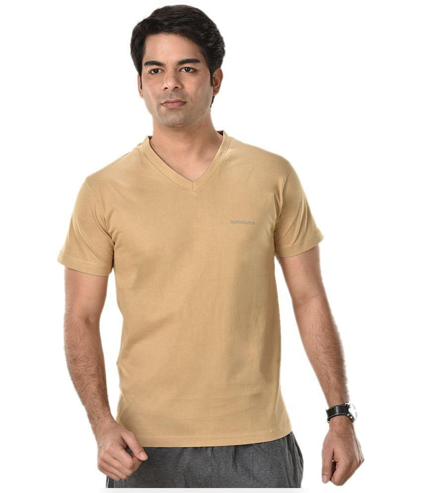 Rupa Beige V-Neck T Shirts Pack of 2