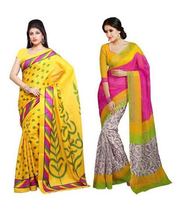 The designer house Yellow Bhagalpuri Silk Saree Combos