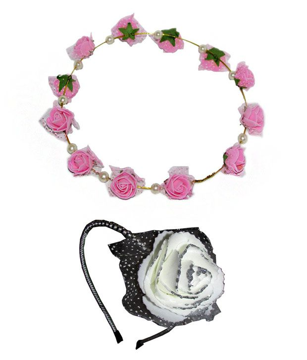 Combo Of Pink Floral Tiara And White Floral Hairband Buy Online At