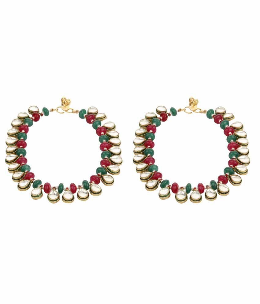 Dilan Jewels Multicolor Alloy Kundan Pair Of Anklets For Women