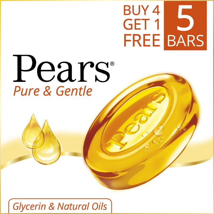 Pears Pure And Gentle Bathing Bar 125g buy 4 Get 1 Free