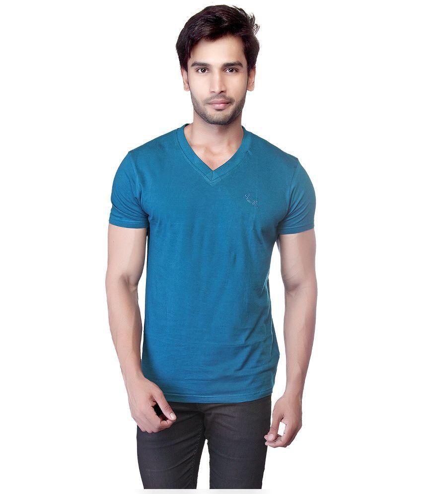 LUCfashion Blue V-Neck T Shirt