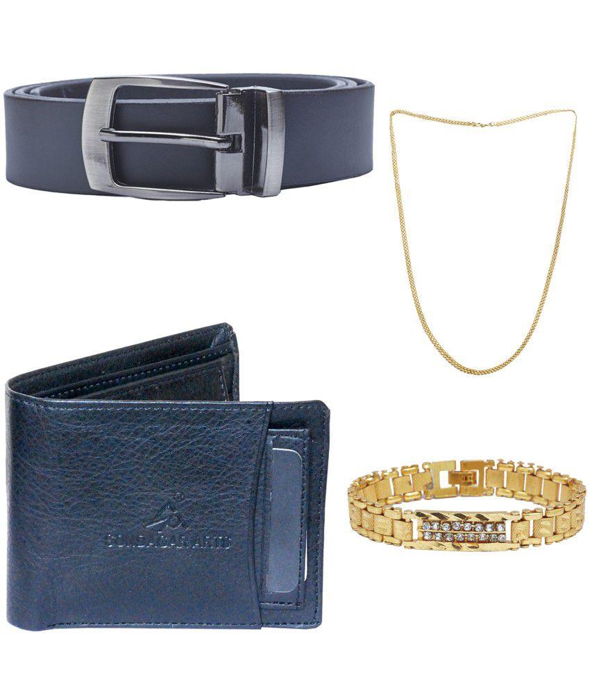 Sondagar Arts Multicolour Leather Single Belt for Men with Wallet Chain, and Bracelet