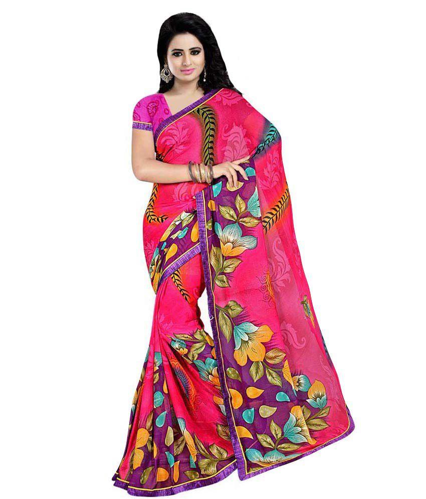 Indian Wear Online Pink Chiffon Saree