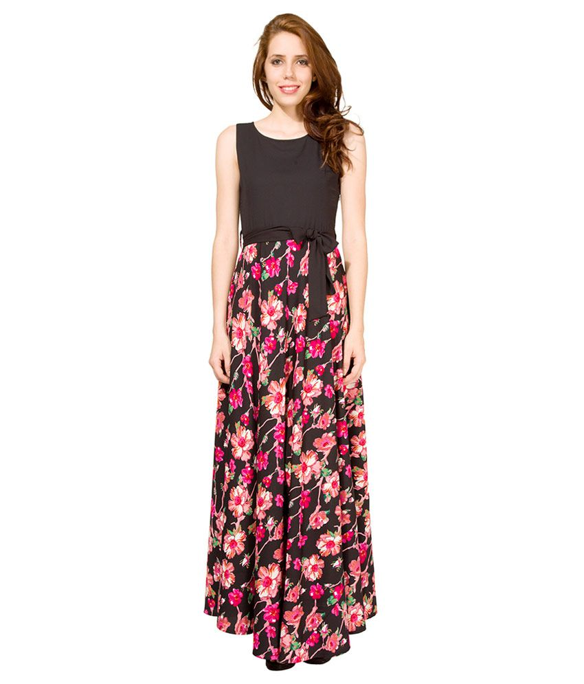 b0d98b825 Tokyo Talkies Black Floral Printed Maxi Dress - Buy Tokyo Talkies ...