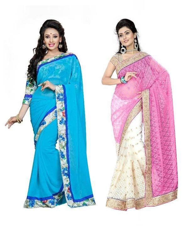 Aashvi Creation Multicoloured Brasso Saree Combos