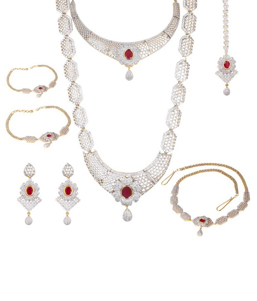 Jewellery Watches Bridal Indian American Diamond Ruby Beads Necklace Gold Plated Jewelry Sets Wvpd Org